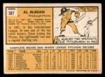 1963 Topps #387 YEL Al McBean  Back Thumbnail