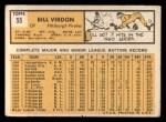 1963 Topps #55  Bill Virdon  Back Thumbnail