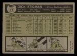 1961 Topps #77  Dick Stigman  Back Thumbnail