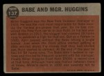 1962 Topps #137 GRN  -  Babe Ruth / Miller Huggins Babe and Mgr. Huggins Back Thumbnail