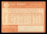 1964 Topps #319  Paul Brown  Back Thumbnail