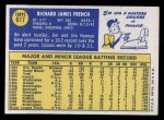 1970 Topps #617  Jim French  Back Thumbnail
