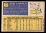 1970 Topps #23  Bill Robinson  Back Thumbnail