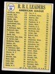 1970 Topps #64   -  Reggie Jackson / Harmon Killebrew / Boog Powell AL RBI Leaders Back Thumbnail