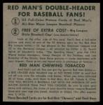 1952 Red Man #3 NL x Ewell Blackwell  Back Thumbnail