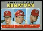 1970 Topps #599   -  Gene Martin / Dick Stelmaszek / Dick Such Senators Rookies Front Thumbnail