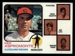 1973 Topps #449 BRN  -  Ken Aspromonte / Rocky Colavito / Joe Lutz / Warren Spahn Indians Leaders Front Thumbnail