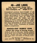 1948 Leaf #48  Joe Louis  Back Thumbnail