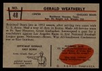 1953 Bowman #48  Gerald Weatherly  Back Thumbnail