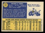 1970 Topps #312  Mike Torrez  Back Thumbnail