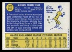 1970 Topps #582  Mike Paul  Back Thumbnail