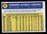 1970 Topps #245  Leo 'Chico' Cardenas  Back Thumbnail