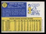 1970 Topps #185  Don Mincher  Back Thumbnail
