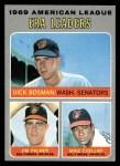 1970 Topps #68   -  Dick Bosman / Mike Cuellar / Jim Palmer AL ERA Leaders Front Thumbnail