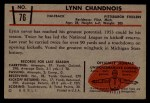 1953 Bowman #76  Lynn Chandnois  Back Thumbnail