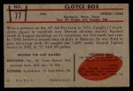 1953 Bowman #77  Cloyce Box  Back Thumbnail