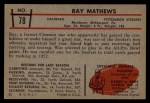1953 Bowman #78  Ray Mathews  Back Thumbnail