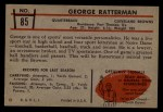 1953 Bowman #85  George Ratterman  Back Thumbnail