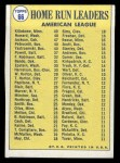 1970 Topps #66   -  Frank Howard / Reggie Jackson / Harmon Killebrew AL HR Leaders Back Thumbnail