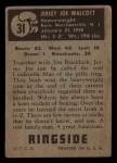 1951 Topps Ringside #31  Jersey Joe Walcott  Back Thumbnail