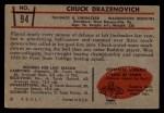 1953 Bowman #94  Chuck Drazenovich  Back Thumbnail