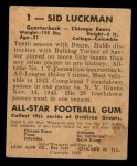 1948 Leaf #1 YEL Sid Luckman  Back Thumbnail