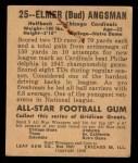 1948 Leaf #25 BN Bud Angsman  Back Thumbnail