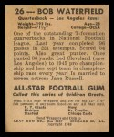 1948 Leaf #26 BN Bob Waterfield  Back Thumbnail