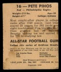 1948 Leaf #16 YEL Pete Pihos  Back Thumbnail