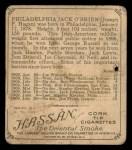 1910 T218 Champions #138  Philadelphia Jack O'Brien  Back Thumbnail
