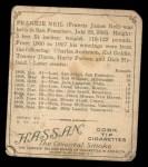 1910 T218 Champions #134  Frankie Neil  Back Thumbnail