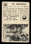 1951 Topps #10  Vic Janowicz  Back Thumbnail