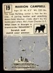 1951 Topps Magic #19  Marion Campbell  Back Thumbnail