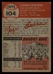 1953 Topps #104  Yogi Berra  Back Thumbnail