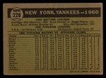 1961 Topps #228   Yankees Team Back Thumbnail