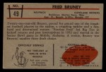 1953 Bowman #49  Fred Bruney  Back Thumbnail