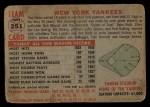 1956 Topps #251   Yankees Team Back Thumbnail