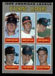 1970 Topps #70 ERR  -  Dave Boswell / Mike Cuellar / Dennis McLain / Dave McNally / Jim Perry / Mel Stottlemyre AL Pitching Leaders Front Thumbnail