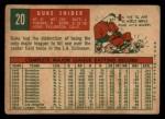 1959 Topps #20  Duke Snider  Back Thumbnail
