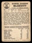 1960 Leaf #50  Danny McDevitt  Back Thumbnail