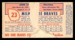 1954 Johnston Cookies #23  Johnny Logan  Back Thumbnail