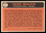 1966 Topps #411  Gene Mauch  Back Thumbnail