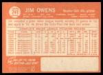 1964 Topps #241  Jim Owens  Back Thumbnail