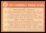 1964 Topps #262   -  Mike Shannon / Harry Fanok Cardinals Rookies Back Thumbnail