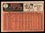 1966 Topps #62 ^SLD^ Merritt Ranew   Back Thumbnail