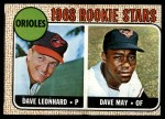 1968 Topps #56   -  Dave Leonhard / Dave May Orioles Rookies Front Thumbnail