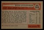 1954 Bowman #213  Dick Littlefield  Back Thumbnail