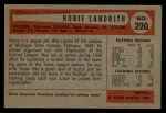 1954 Bowman #220  Hobie Landrith  Back Thumbnail