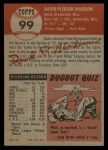 1953 Topps #99  Dave Madison  Back Thumbnail