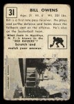 1951 Topps #31  Bill Owens  Back Thumbnail